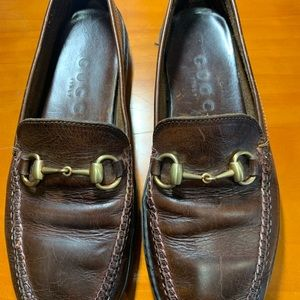 Gucci Brown Horsebit Loafers Shoes.
